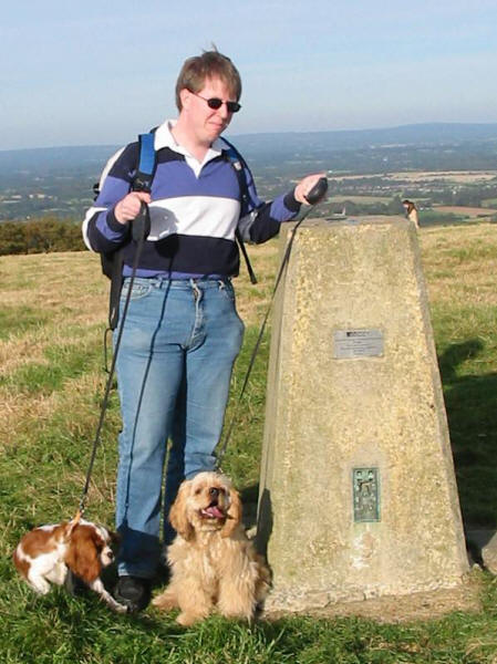 Stephen and the dogs on Ditchling Beacon