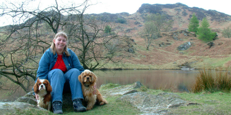 Lucy, Henry and George by reservoir on Holme Fell