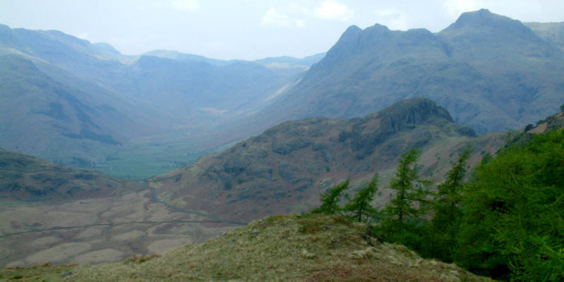 Langdale Pikes behind Stickle Pike with Mickleden