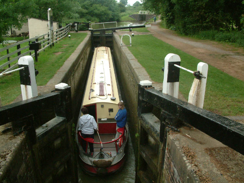 Narrowboat in lock, Grand Union Canal