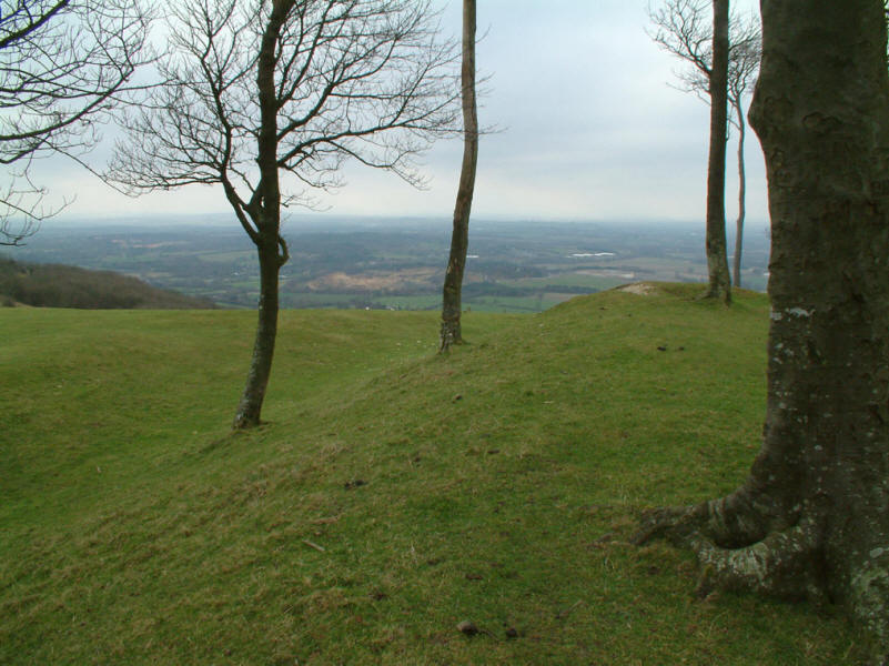 earth bank of Iron Age hill fort at Chanctonbury Ring