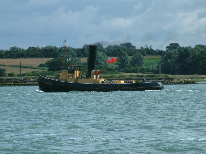 steam tug on River Orwell near Harwich Harbour