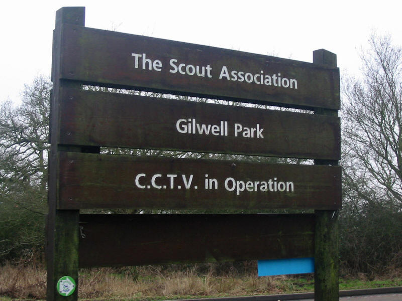 Sign at Scout Association's national headquarters, Gilwell Park