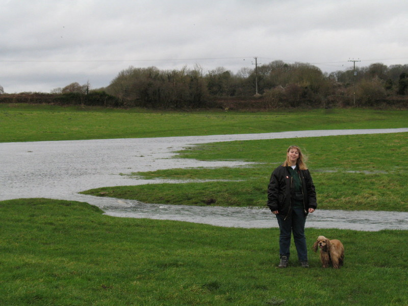 River Thames flooding in fields near Kemble