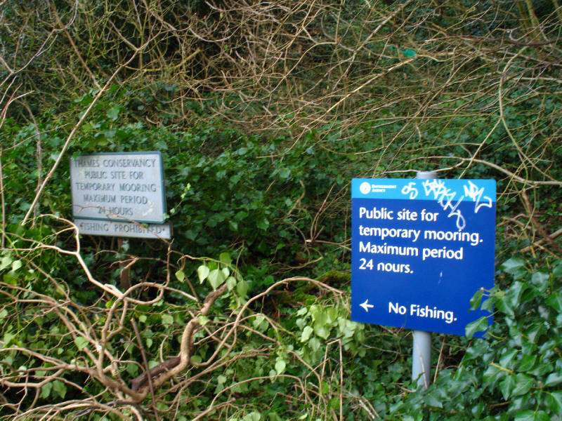 Thames Conservancy and Environment Agency signs on River Thames