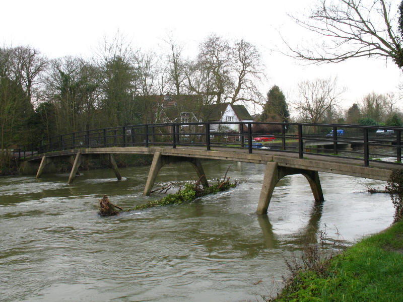 Concrete bridge taking Thames Path over the River Thames, Sonning