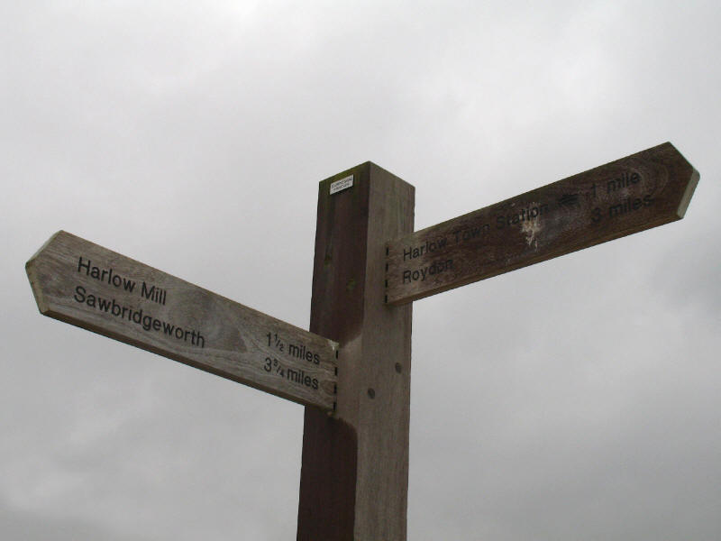 Signpost on River Stort in Harlow