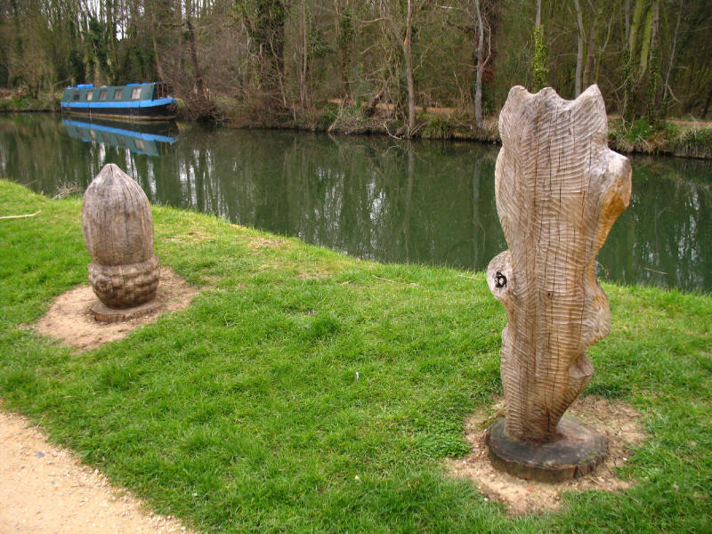 Wooden art by the River Stort in Harlow