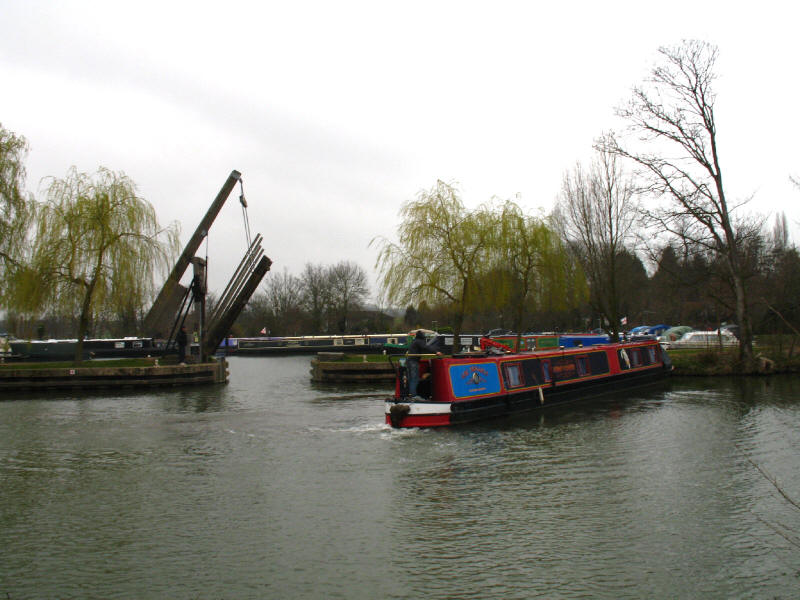 Narrowboat and marina in Harlow on the River Stort Navigation