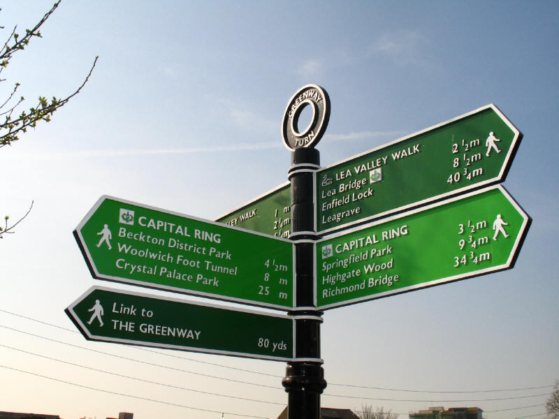 Greenway Turn signpost on Lea Valley Walk and Capital Ring