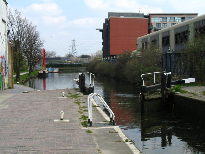 Lock on the Hertford Union Canal and junction with River Lee Navigation