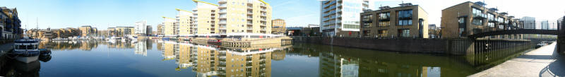 Panoramic view of Limehouse Basin