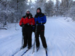 Lucy and Stephen cross-country skiing during a holiday in north-west Finland