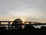 Orwell Bridge with the setting sun
