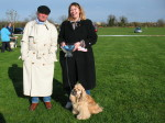 Lucy, George and the judge at the Littleport companion dog show