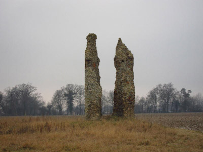 Remains of the 12th century tower of St Mary's church at Thorpe Parva