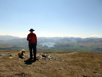 Stephen and George on Carl Side descending from Skiddaw with Derwentwater and the north-western fells behind