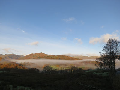 Lingmoor Fell with mist in the valleys