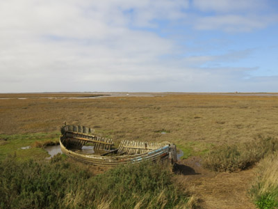 Boat on the marshes of Blakeney National Nature Reserve